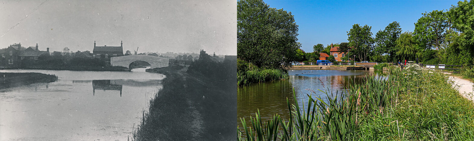 Hickling - Grantham Canal - Bridge and Basin - Then and now