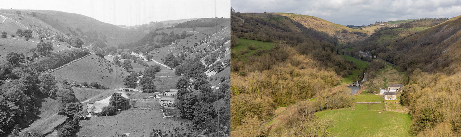 Monsal Dale from Monsal Head - Then and now