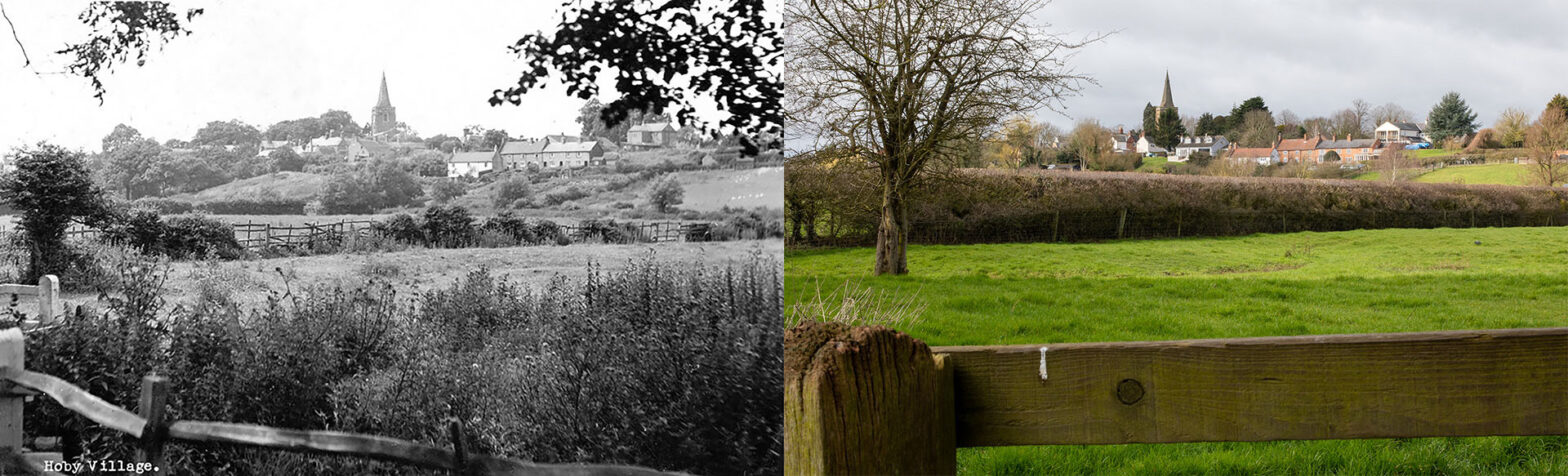Hoby - View on village - Then and now