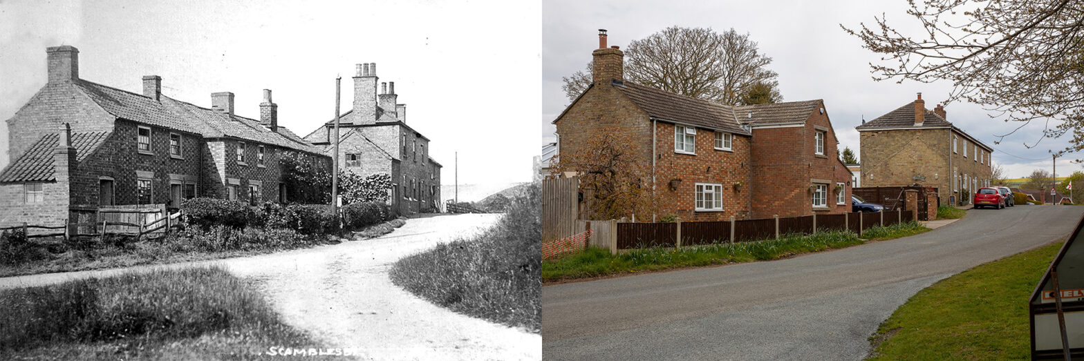 Lincolnshire - Scamblesby - Old Main Road - Then and now